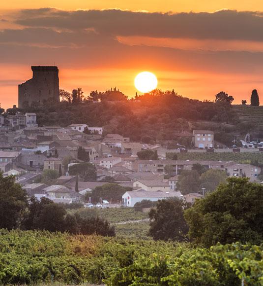 coucher de soleil sur Châteauneuf-du-pape